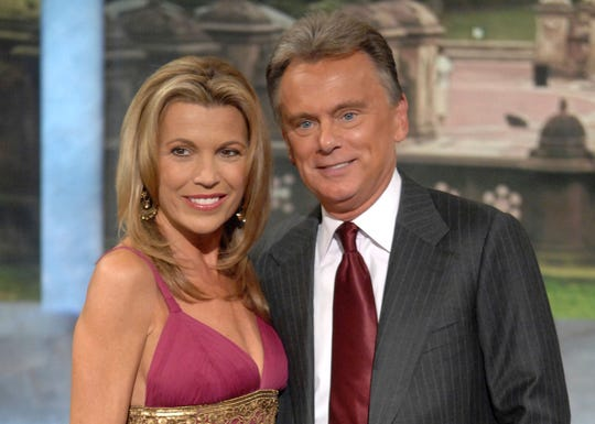 "FILE - In this Sept. 29, 2007 file photo, co-host Vanna White and host Pat Sajak make an appearance at Radio City Music Hall for a taping of celebrity week on ""Wheel of Fortune"" in New York."