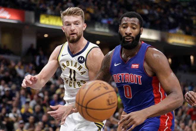 Pacers' Domantas Sabonis (11) and Pistons' Andre Drummond (0) have seen plenty of one another over the first month of the season.