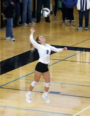 Avery Snyder serves for Horseheads in a 3-0 win over Maine-Endwell in the Section 4 Class AA volleyball final at Corning-Painted Post High School on Nov. 9, 2019.
