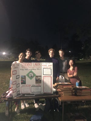FSU's Student Labor Association participated in the Banking For Change event on Landis Green to raise awareness for unethical labor practices.