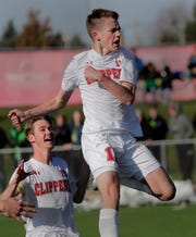 Sturgeon Bay's Carson Dvorak (12) celebrates his game-winning goal with teammate Eli Dietzel against The Prairie School during the WIAA Division 4 boys state soccer championship game Saturday at Uihlein Soccer Park in Milwaukee.