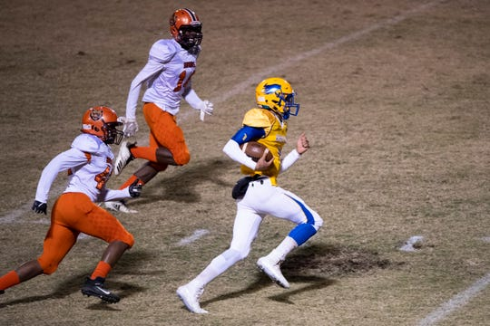 Wren's Joe Owens (1) carries the ball during the game against Orangeburg-Wilkinson High School at Wren High School Friday, November 8, 2019.