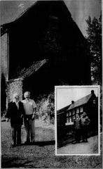 In 1944, two young men briefly crossed paths in Belgium, and the moment was captured for posterity's sake (inset). The same two men, Marcel Schyns, left, and Warren Mack reunited in August, 1994, in front of the same house.