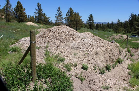 This 2013 photo from photo from Archaeological Damage Investigation & Assessment shows a pile of bison bone fragments, dumped in a pile by a backhoe in violation of federal law, at a prehistoric bison kill site at a coal mine on the Crow Indian Reservation near Sarpy Creek in eastern Montana. When Westmoreland Energy dug up a huge bison killing grounds on the reservation with a backhoe to make way for mining, investigators determined the damage violated federal law and would cost $10 million to repair, documents show. But nothing happened - no fines, no repairs and no compensation.  (David Griffel/Archaeological Damage Investigation & Assessment via AP)