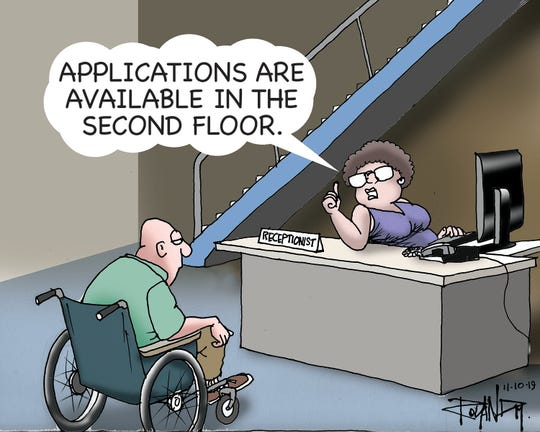 Sunday cartoon on employment for persons with disabilities.
