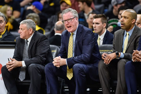 Hawkeyes head coach Fran McCaffery reacts during the first half against the SIU Edwardsville Cougars at Carver-Hawkeye Arena.