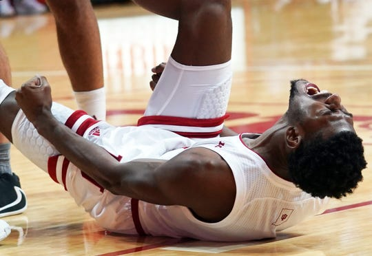 Indiana Hoosiers guard Al Durham (1) celebrates after making a shot and being fouled during the game against Portland State at Simon Skjodt Assembly Hall in Bloomington, Ind., on Saturday, Nov. 9, 2019.