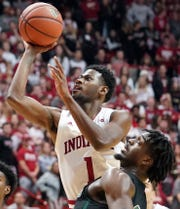 Indiana Hoosiers guard Al Durham (1) attempts a shot during the game against Portland State at Simon Skjodt Assembly Hall in Bloomington, Ind., on Saturday, Nov. 9, 2019.