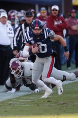 Ole Miss quarterback John Rhys Plumlee had another big day running the ball.