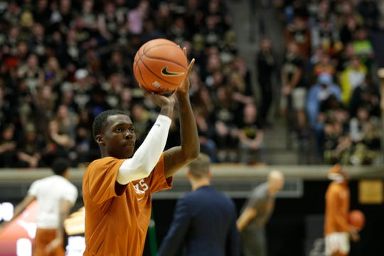 Texas guard Andrew Jones (1) warms up prior to the start of an NCAA Men's basketball game, Saturday, Nov. 9, 2019 at Mackey Arena in West Lafayette.
