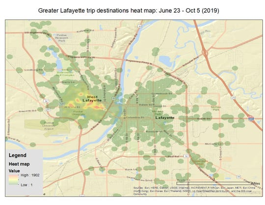 This heat map shows the most popular destinations for Spin's rental electric scooters in Lafayette, West Lafayette and Purdue. Campus destinations, seen in shades of orange and yellow, were busiest in 2019.