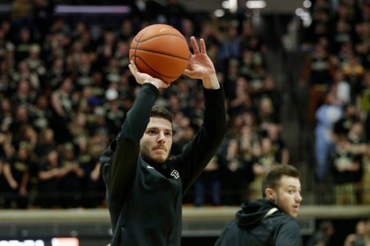 Purdue guard Tommy Luce (15) warms up prior to the start of an NCAA Men's basketball game, Saturday, Nov. 9, 2019 at Mackey Arena in West Lafayette.