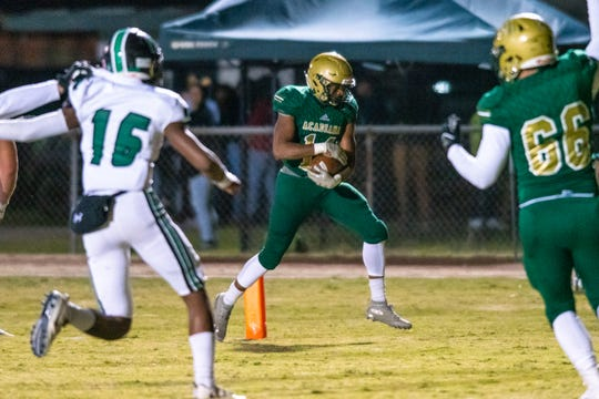 Acadiana High's Tyvin Zeno runs the ball into the end zone to score as the Acadiana High Wreckin' Rams take on the Lafayette High Mighty Lions on Senior Night, Thursday, Nov. 8, 2019.