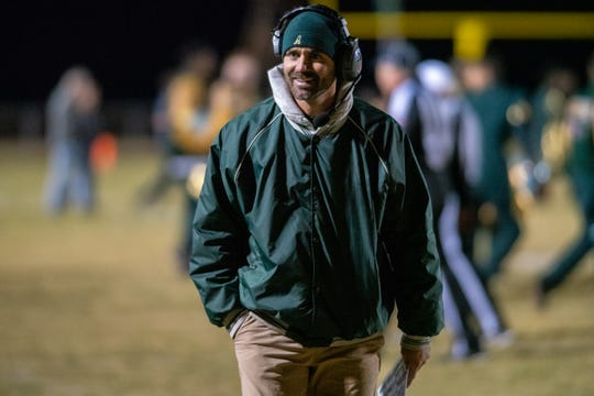 Acadiana High's head coach Matt McCullough walks off the field at halftime as the Acadiana High Wreckin' Rams take on the Lafayette High Mighty Lions on Senior Night, Thursday, Nov. 8, 2019.