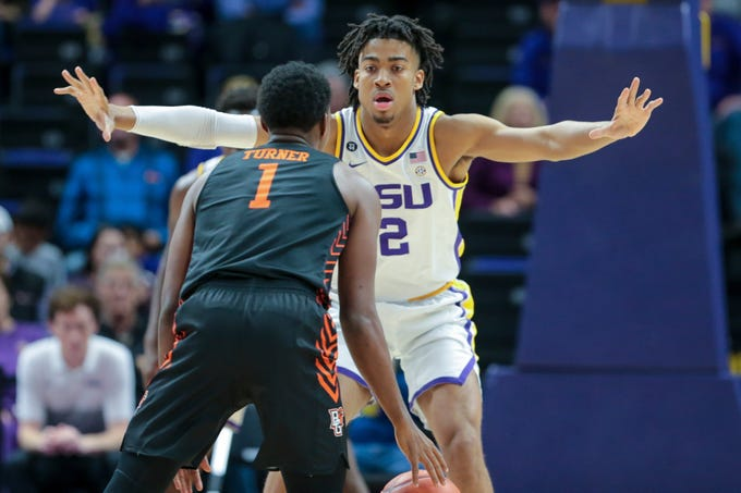 LSU forward Trendon Watford (2) defends Bowling Green guard Justin Turner (1) in the first half in an NCAA college basketball game in Baton Rouge, La., Friday, Nov. 8, 2019. (AP Photo/Brett Duke)