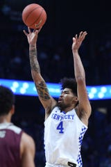 UK F Nick Richards shoots during the University of Kentucky basketball game against Eastern Kentucky University at Rupp Arena in Lexington, KY on Friday, November 8, 2019.