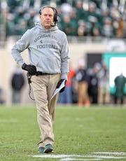 Nov 9, 2019; East Lansing, MI, USA; Michigan State Spartans head coach Mark Dantonio stands on the field during the first half against the Illinois Fighting Illini at Spartan Stadium. Mandatory Credit: Mike Carter-USA TODAY Sports
