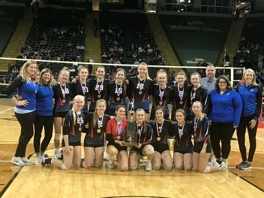 Highland poses on the volleyball court at Wright State after finishing as Division II state runners-up this fall.