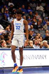 Memphis Tigers center James Wiseman checks in the game as they take on the UIC Flames at the FedExForum on Friday, Nov. 8, 2019. Earlier in this week, Wiseman was declared ineligible by the NCAA according to his attorney.