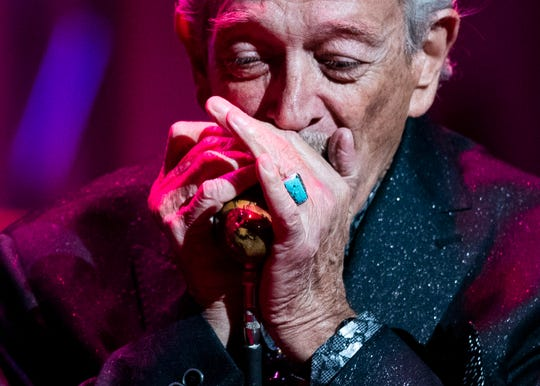 Electric blues harmonica player Charles Douglas Musselwhite performs at the Memphis Music Hall of Fame induction on Friday.