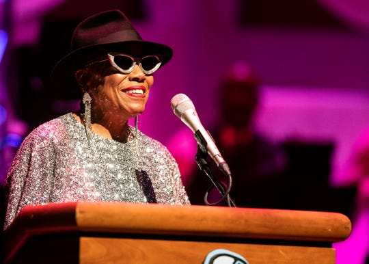 Grammy Award-winning jazz singer-songwriter, Dee Dee Bridgewater, speaks at the Memphis Music Hall of Fame induction on Friday.