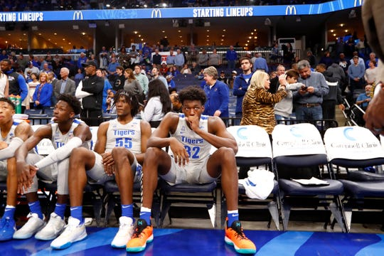 Memphis Tigers center James Wiseman waits to be introduced before they take on the UIC Flames at the FedExForum on Friday, Nov. 8, 2019. Earlier in the day, Wiseman was declared ineligible by the NCAA.