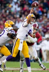 LSU quarterback Joe Burrow (9) passes against Alabama at Bryant-Denny Stadium in Tuscaloosa, Ala., on Saturday November 9, 2019.