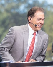 Alabama head coach Nick Saban joins the hosts of College GameDay ahead of the Tide's game against LSU.