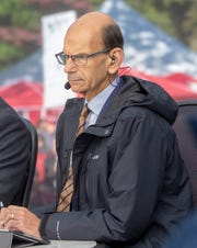Paul Finebaum of SEC Nation on set before the Alabama, LSU game in Tuscaloosa.