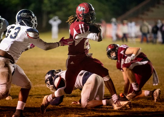 Stanhope Elmore's Travarasia Duncan (24) scores late in the game against Paul Bryant at Foshee-Henderson Stadium in Millbrook, Ala., on Friday November 8, 2019.