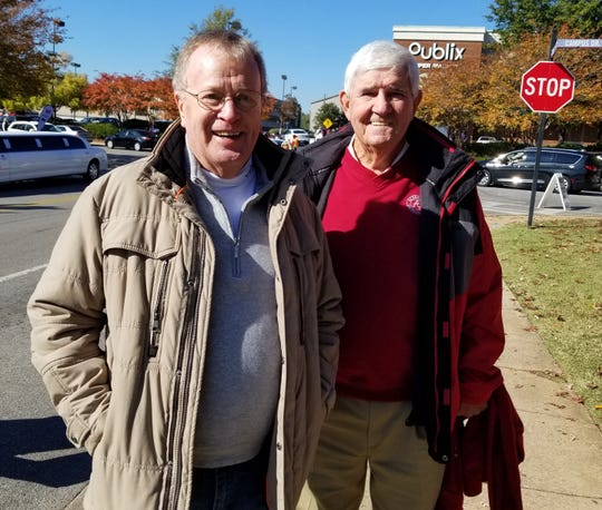"Charles Patrick (left), of Tallassee, joined by his friend ""T-bone"" Taylor at the Alabama-LSU game"