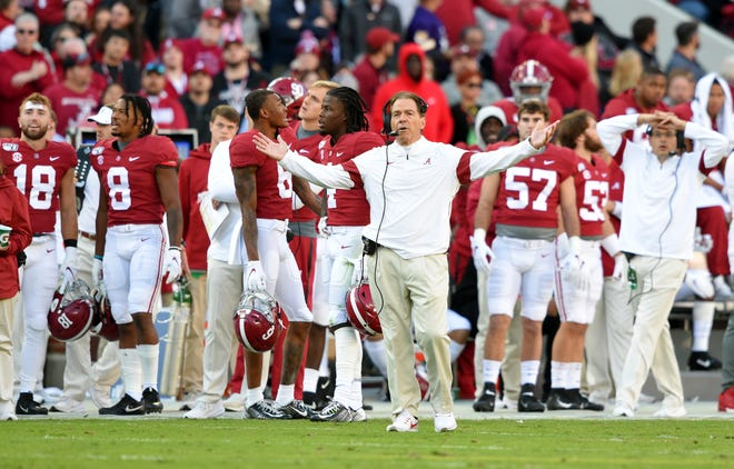 Nov 9, 2019; Tuscaloosa, AL, USA; Alabama Crimson Tide head coach Nick Saban reacts to an officials spot of the ball on a 4th down play during the second quarter against the LSU Tigers at Bryant-Denny Stadium. Mandatory Credit: John David Mercer-USA TODAY Sports