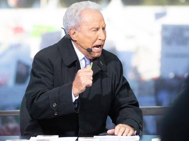 Lee Corso of ESPN's College GameDay on set in Tuscaloosa ahead of the Alabama, LSU game.