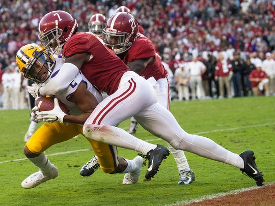 Alabama defensive back Trevon Diggs (7) stops LSU wide receiver Justin Jefferson (2) short of the goal line at Bryant-Denny Stadium in Tuscaloosa, Ala., on Saturday November 9, 2019.