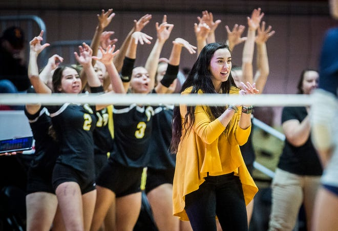 Cowan coach Melissa-Paul Gardner and the Blackhawks face off against Trinity Lutheran during their state final game at Worthen Arena Saturday, Nov. 9, 2019. Cowan defeated Trinity 3-2.