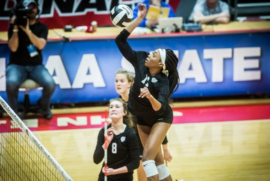 Heritage Christian's Raven Colvin hits against Wapahani's defense during their state final game at Worthen Arena Saturday, Nov. 9, 2019. Heritage Christian defeated Wapahani 3-0.