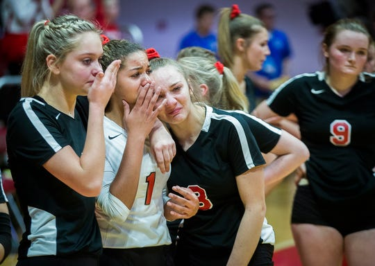 Wapahani reacts to losing 3-0 to state final opponent Heritage Christian at Worthen Arena Saturday, Nov. 9, 2019.