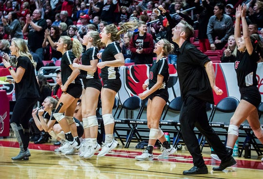 Wapahani reacts to pulling ahead of Heritage Christian in their third set during their state final game at Worthen Arena Saturday, Nov. 9, 2019. Heritage Christian defeated Wapahani 3-0.