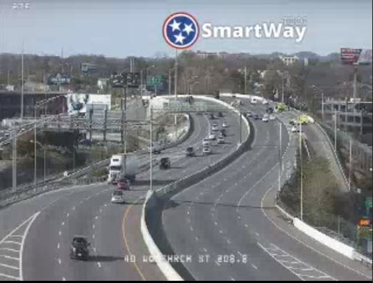A look, via traffic camera, at I-40 near Charlotte Ave. at 2:35 p.m. on Saturday, Nov. 9, 2019. The westbound portion has been shut down after a pedestrian death.