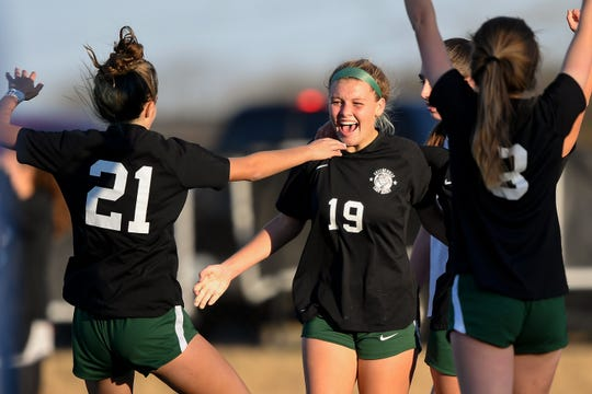 Greeneville's Sydney Finchum (19) reacts to scoring against Nolensville during the second half of the Class AA soccer final at Page High School in Franklin, Tenn., Saturday, Nov. 9, 2019.