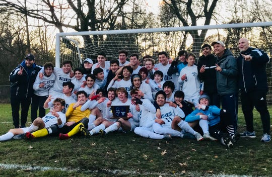 The Waldwick boys soccer team poses for photos after winning the 2019 title for North 1, Group 1.