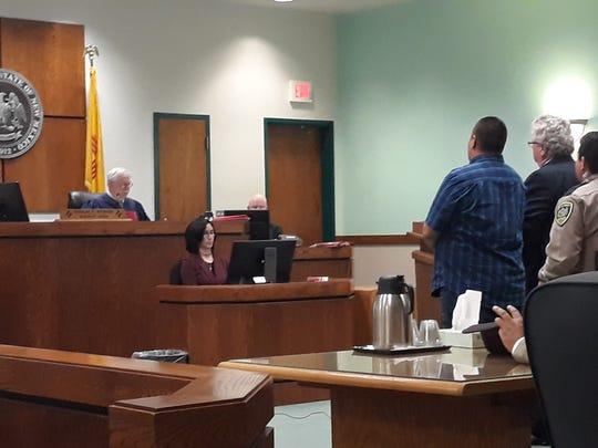 Alejandro Ruiz, in blue, appears in Third Judicial District Court for sentencing on Friday, Nov. 8, 2019.