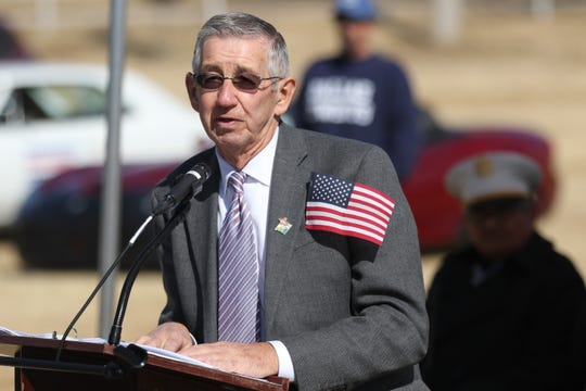 Carlsbad Mayor Dale Janway speaks during a Veterans Day ceremony, Nov. 9, 2019 in Carlsbad. He welcomes additional participation with Eddy County and the private on upcoming road projects.
