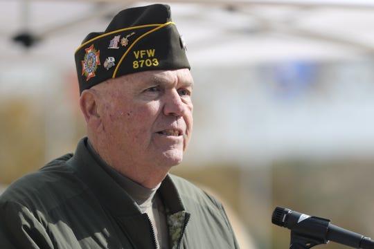 Air Force veteran David Redford speaks during a Veterans Day ceremony, Nov. 9, 2019 in Carlsbad.