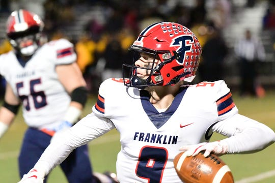Livonia Franklin quarterback Jake Kelbert prepares for a pass against Detroit Martin Luther King in the 2019 playoffs.
