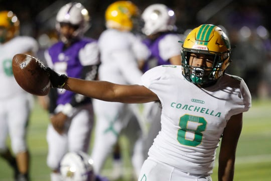 Coachella Valley High School's Josh Moore celebrates his touchdown against Jurupa Hills High School in their CIF playoff game on November 8, 2019.