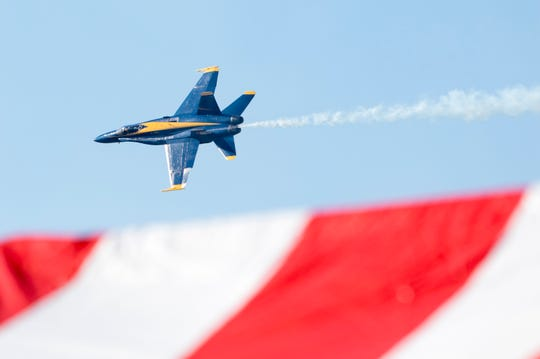 The Blue Angels fly during their homecoming show at NAS Pensacola on Saturday, Nov. 9, 2019.