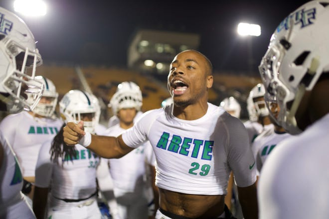 UWF receiver Quentin Randolph fires up the team before the Argos' game against Valdosta State on Nov. 9, 2019.