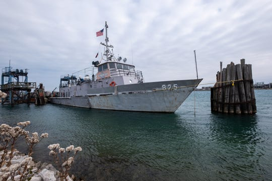 The USNSCS Grayfox is seen moored on the St. Clair River in Port Huron Saturday, Nov. 9, 2019. To be seaworthy, the ship needs hull and engine repairs as well as updates to some of its systems, as well as certification by the U.S. Coast Guard.