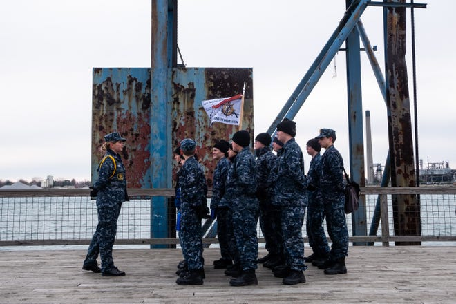 A group of U.S. Naval Sea Cadet Corps students assemble on the pier behind the USNSCS Grayfox for marching drills Saturday, Nov. 8, 2019, in Port Huron.